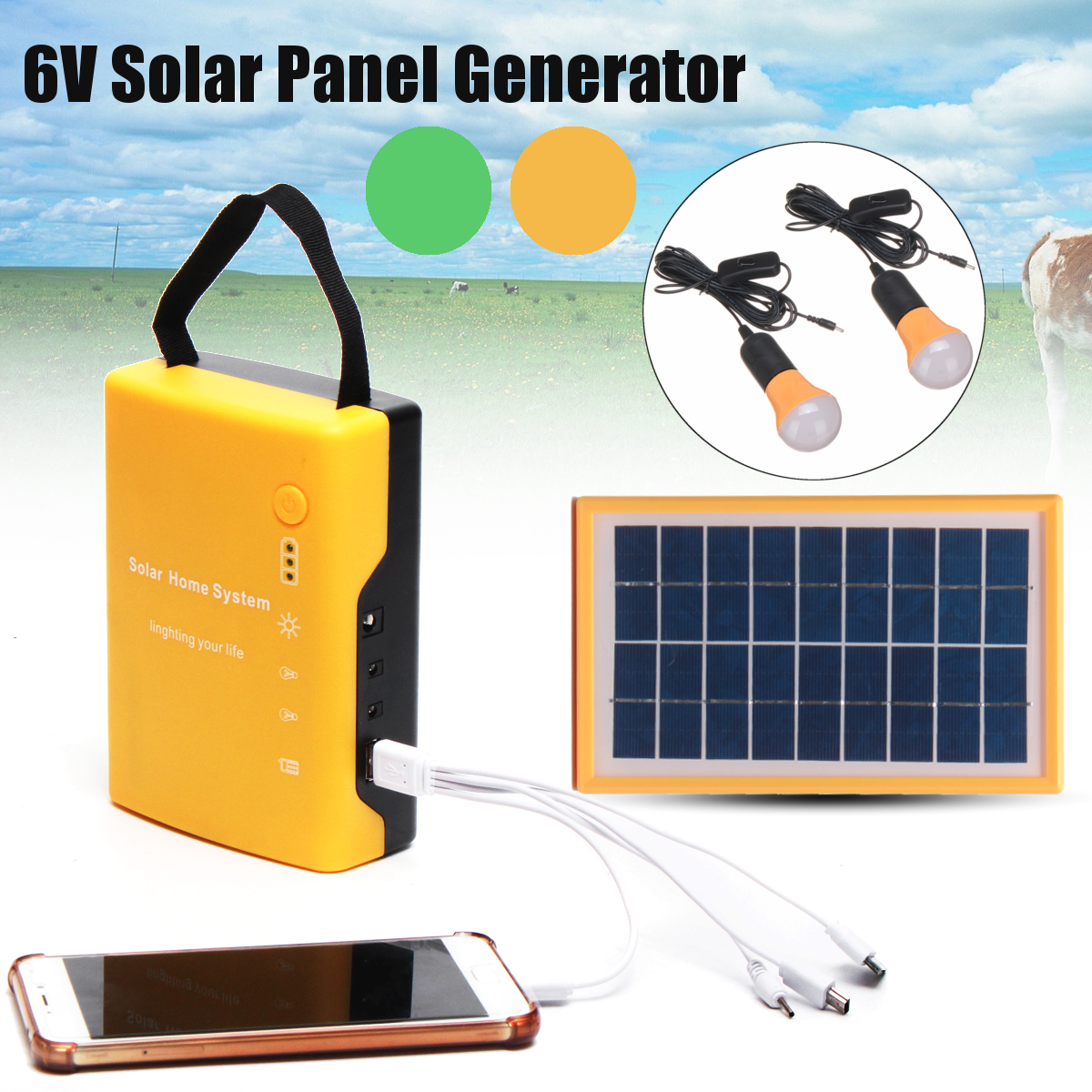 4.5Ah/6V Portable Home Outdoor Solar Panel Power Generator USB Cable Charge Emergency Batteries lead acid LED Light System portable home outdoor solar panels charging generator power generation system 6v 3w lead acid batteries energy usb charger