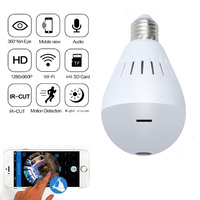 Kruiqi 360 Degree Wireless IP Camera 960P Bulb Light FishEye HD Smart CCTV Camera 1.3MP Home Security WiFi Panoramic IP Camera