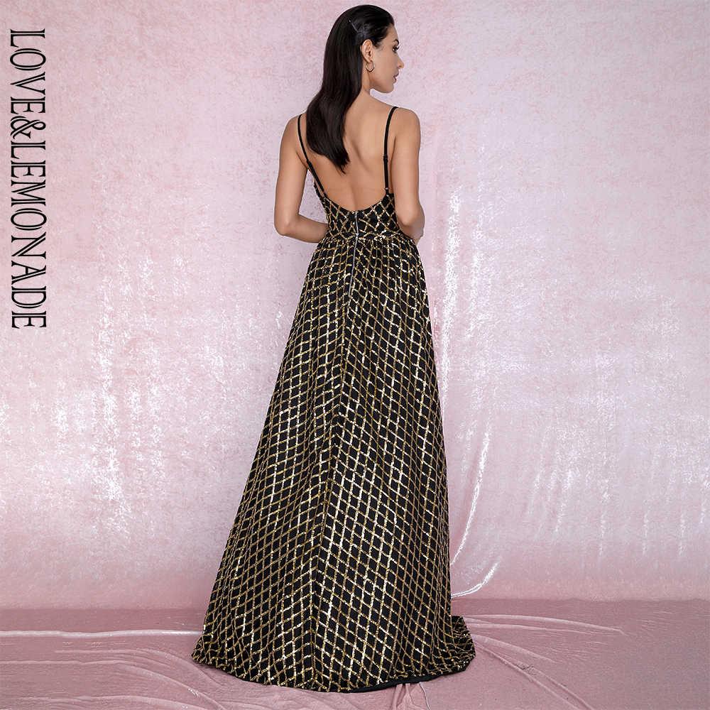 LOVE & LEMONADE сексуальный v-образный вырез клетчатый материал с пайетками из двух частей Bodycon Вечерние платья макси LM80196-1