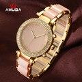 Mulheres da moda Relógios Casuais Senhoras Relógio de Pulso Pulseira de Ouro Simulado de Cerâmica Vestido de Diamantes De Quartzo-relógio relogio feminino