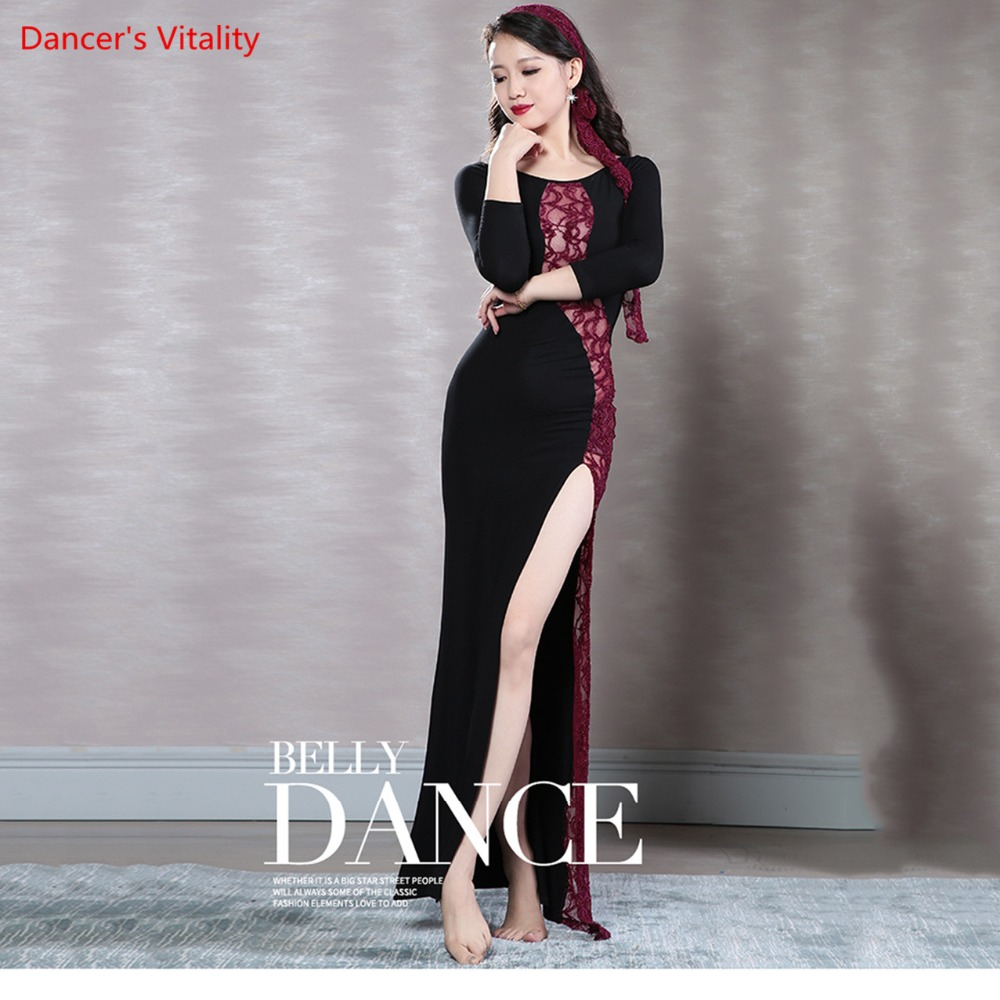 New Wholesale Belly Dancing Clothes Sexy Lace+Modal Dress Belly Dance Dress For Women Latin Dance High Slit Dress
