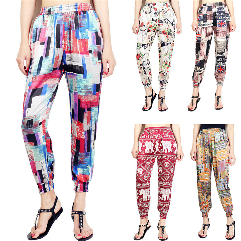 Loose Harem Pant High Waist Show Thin Printed Women's Wear Casual Ankle-Length Trousers Pockets 3