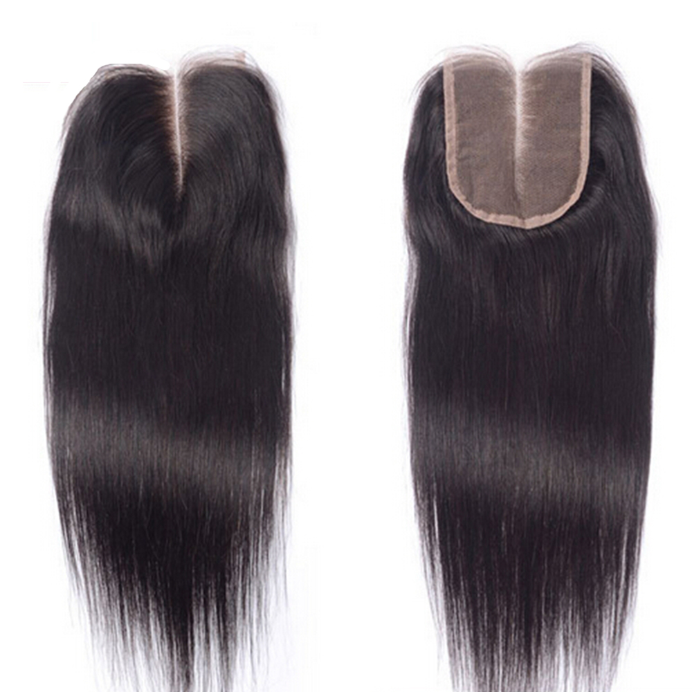 "Top Brazilian Straight Closure 4""X4"", 130% Density, Hand Tied Lace Closure Virgin Human Hair 8""-24"" , Middle and Free Part Closures"