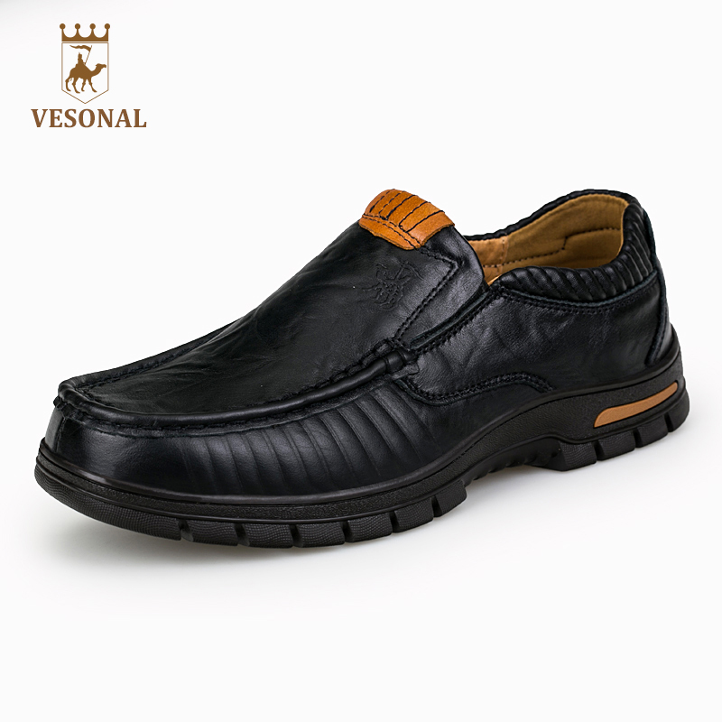 VESONAL Business Casual Brand Male Shoes Men Ons Adult 2017 Genuine Leather Qualit Comfortable Walking Soft Man Footwear Driver купить