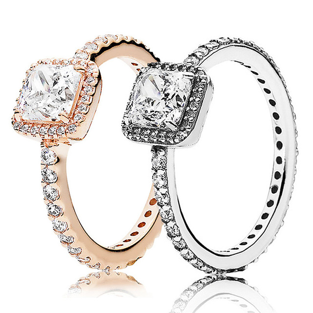 7697dcb3aa0 30% 925 Silver Rose Gold Timeless Elegance Rings With Crystal For Women  Wedding Party Gift Fine Pandora Jewelry