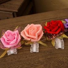 4 цвета Искусственные Свадебные цветы Шелковые Розы ручной цветок подружки невесты на запястье цветы для свадебного украшения