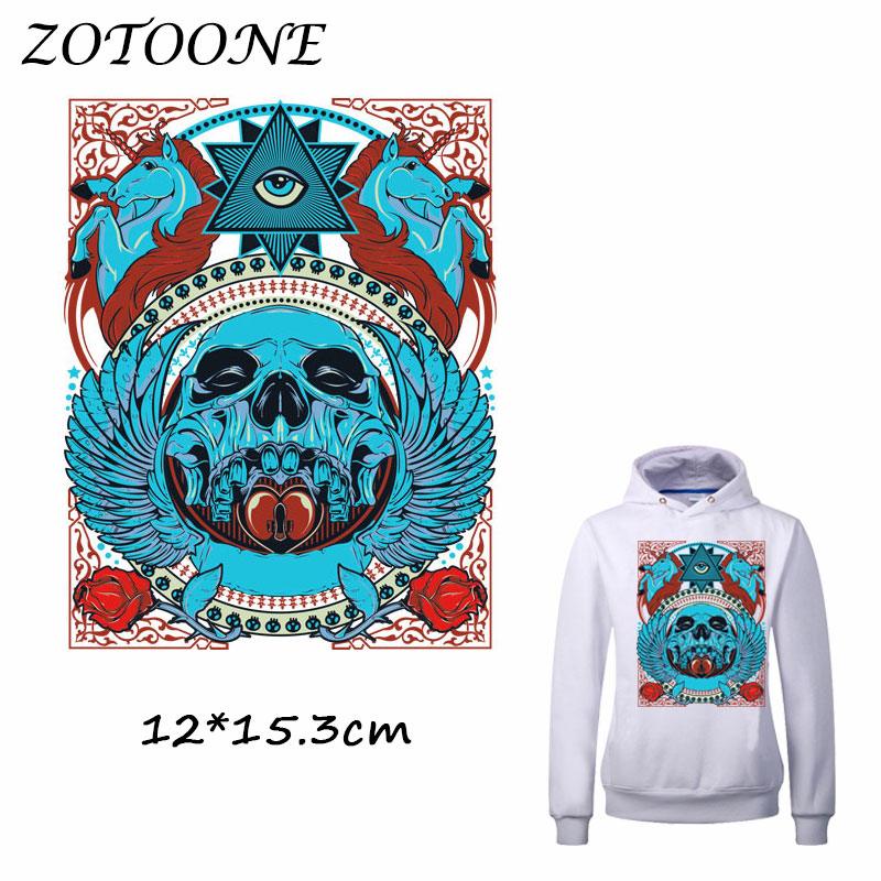 ZOTOONE Cool Horse Skull Patches Heat Transfer Clothes Stickers for T Shirt Jeans Iron-on Transfers DIY Applique