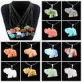 Wholesale 12pcs/Lot Hand Carved Natural Stone Lucky Elephant Pendant Necklace Gift MN534