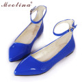 Meotina Ladies Shoes Pointed Toe Flats Ankle Strap Ballet Shoes Yellow Blue Patent Leather Flat Shoes Women Large Size 9 10 42
