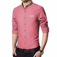 Spring Autumn Men S Brand Trend Slim Fit Shirts Male Solid Long Sleeve Casual Retro Stand
