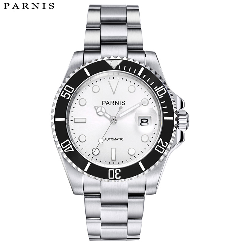 40mm Parnis Watches Black Rotating Bezel Silver Dial with luminous Watch Men Hands Stainless Steel Case Automatic Wristwatch top brand luxury mens mechanical watches parnis 41mm full stainless steel automatic watch men rotating bezel luminous wristwatch