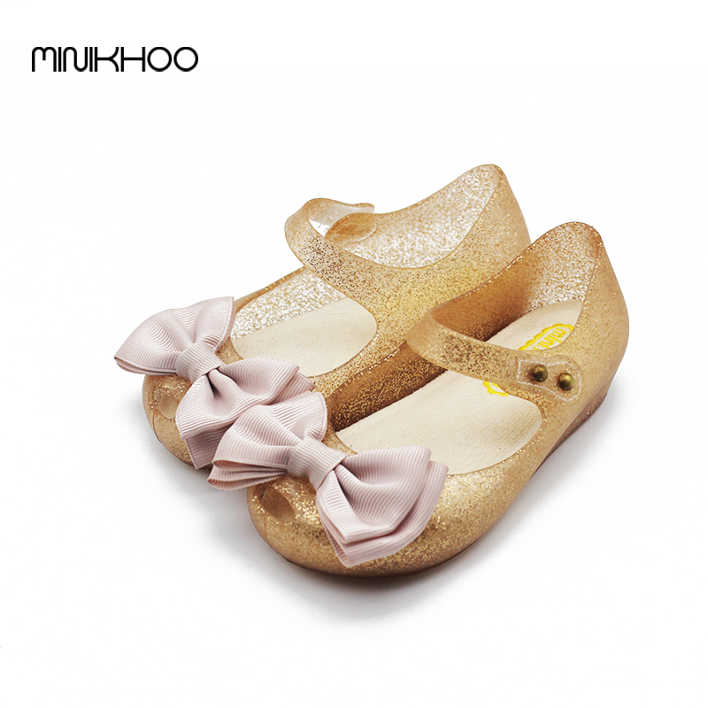 Mini Melissa Red Bow Girls Sandals 2017 New Jelly Girls Sandals Princess Shoes Sandals Melissa Children Shoes High Quality