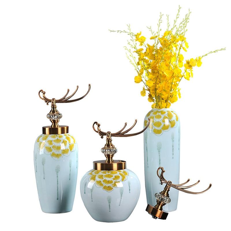 Americano Nova Casa Decoração da Sala de Jantar Moderna Jingdezhen Vasos de Cerâmica de Mesa Flor Grande Com Tampa