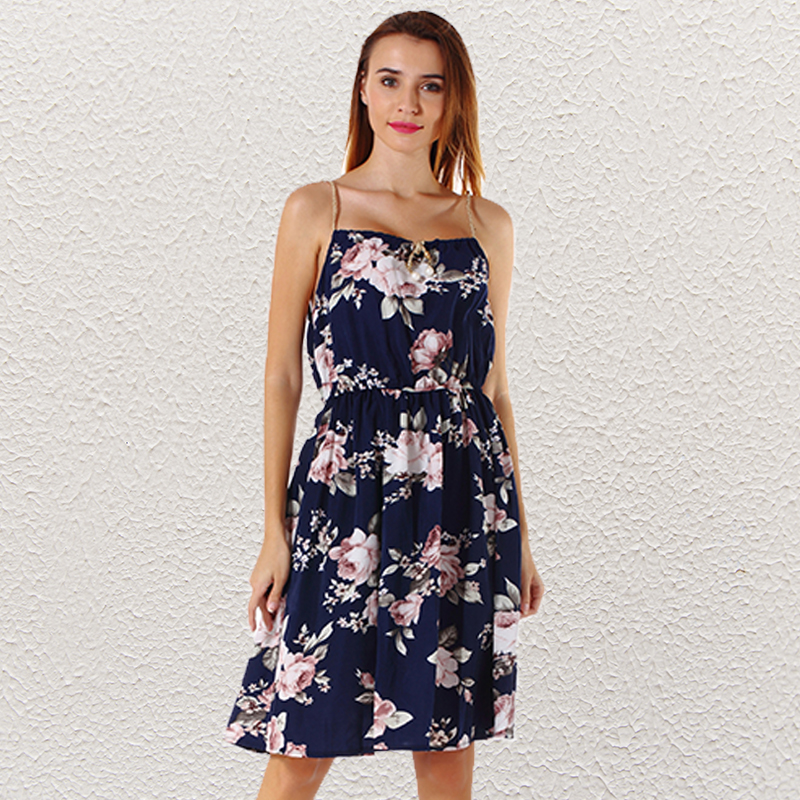 Detail Feedback Questions about Plus Size Women Floral Dress Spaghetti Strap  Collect Waist A line Summer Mini Dress Off Shoulder Print Dresses Maxi  Sundress ... b011f2489aae