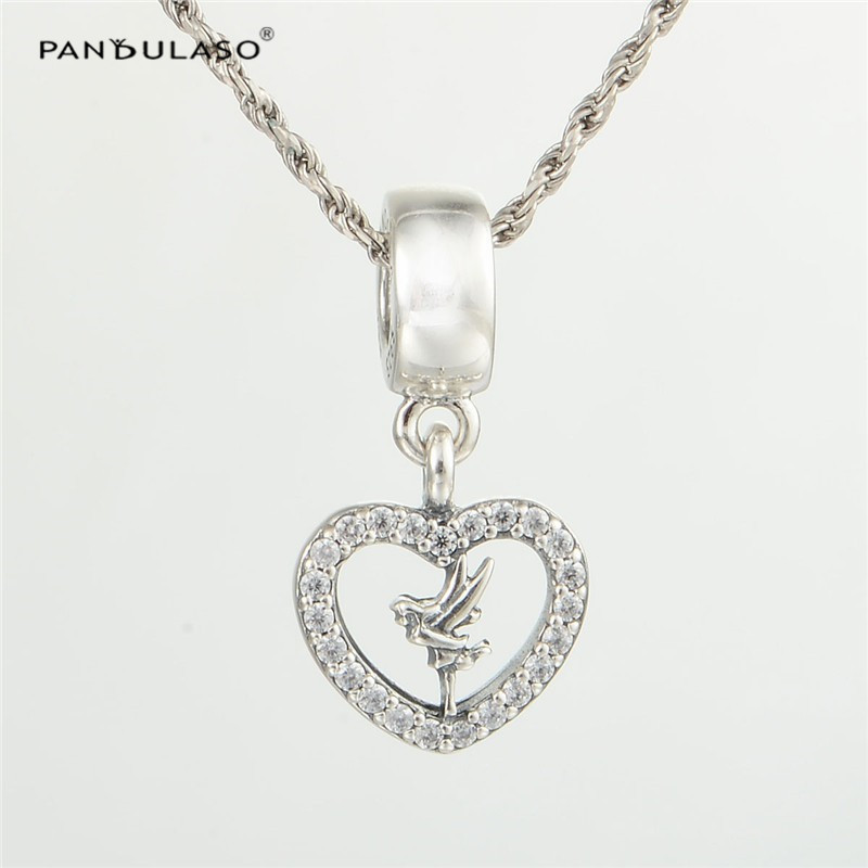 Pandulaso Love Heart Tinker Bell Crystal Beads For Jewelry Making Fit Charms Silver 925 Original Bracelets DIY Jewelry