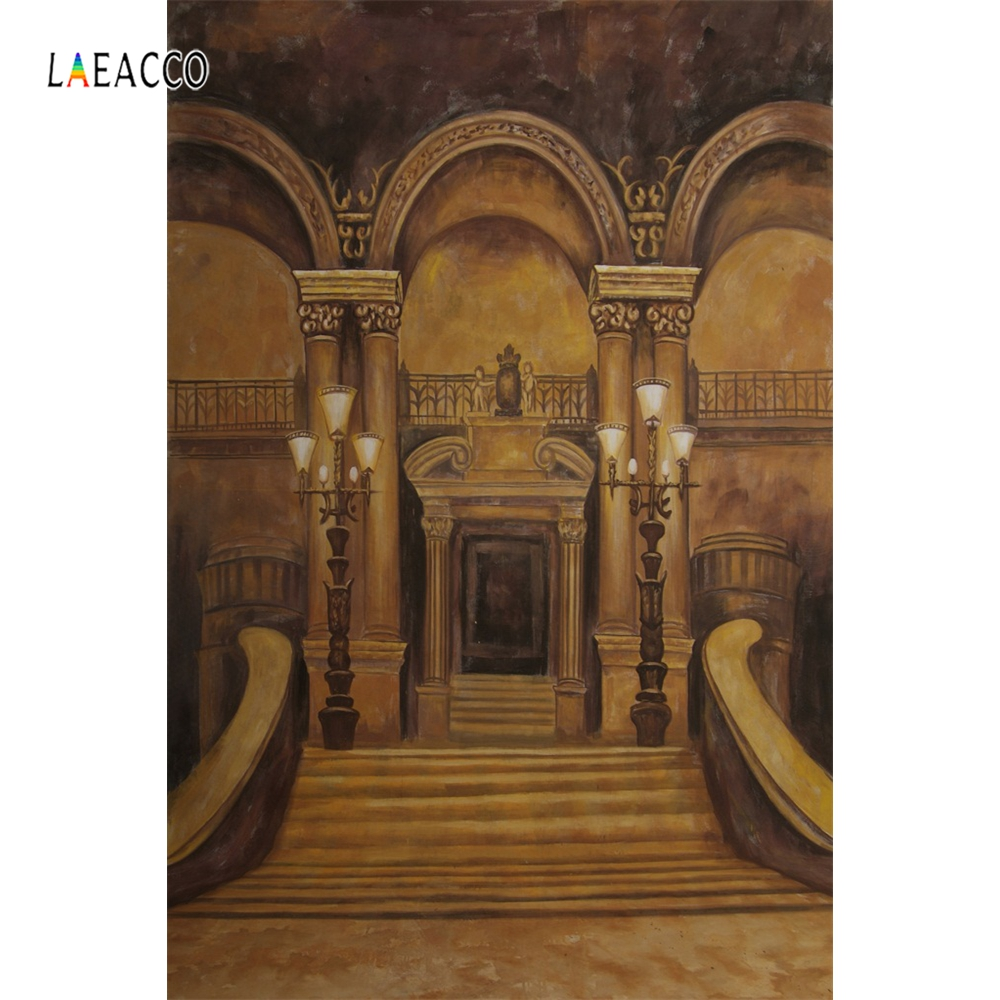 Laeacco Palace Pillars Castle Stairs Interior Scene Photography Backgrounds Customized Photographic Backdrops For Photo Studio in Background from Consumer Electronics