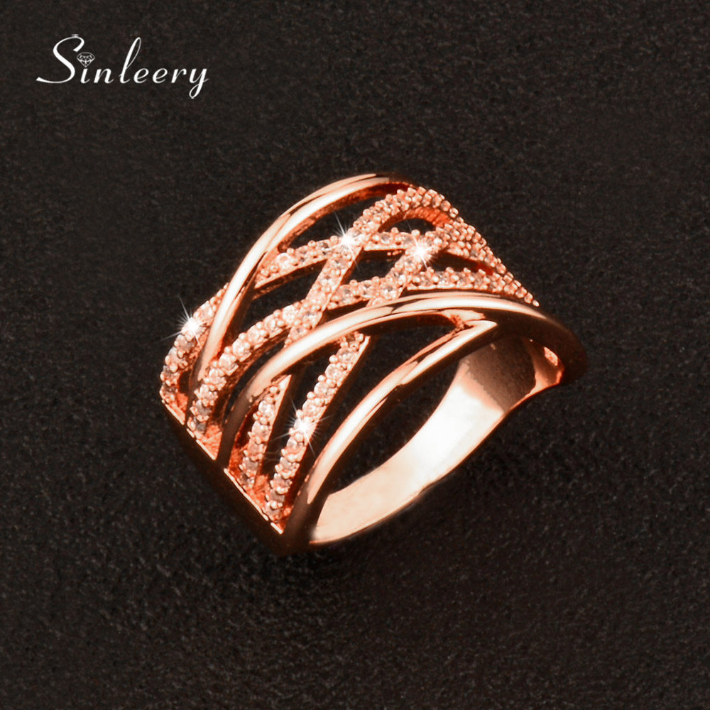 SINLEERY Luxury Multilayer Hollow Cross Rings With Crystal Engagement Wedding Jewelry for Women Anel 3 Colors JZ092 SSD
