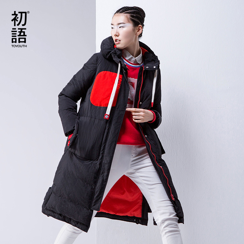 Toyouth Winter Cotton Padded Coat Female Patchwork Hooded Long Thicken Down Jacket Parka Plus Velvet Casaco Feminino S~XXXL hooded long printing casaco feminino inverno 2017 warm thicken cotton padded winter jacket women female coat parka women s