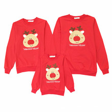 2018 Christmas Family Look Deer Mommy and Me Clothes Matching Family Clothing Sets Mother Daughter Father Baby T-shirt New Year