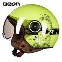 New Colors BEON Open Face 3 4 Motorcycle Motorbike Casco Capacete Helmet Jet Vintage Retro Scooter