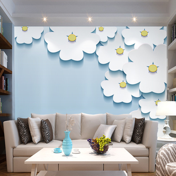 Flowers Wall Wallpapers Design For Your Bedrooms Decorating: Elegant 3D View Daisy Flowers Photo Wallpaper Silk Wall