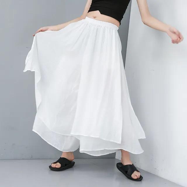 [YaLee] New Fashion 2019 Summer Elastic Waist Trousers Pockets Double Layer Splicing Thin Large Size Wide Leg Pants Women U812