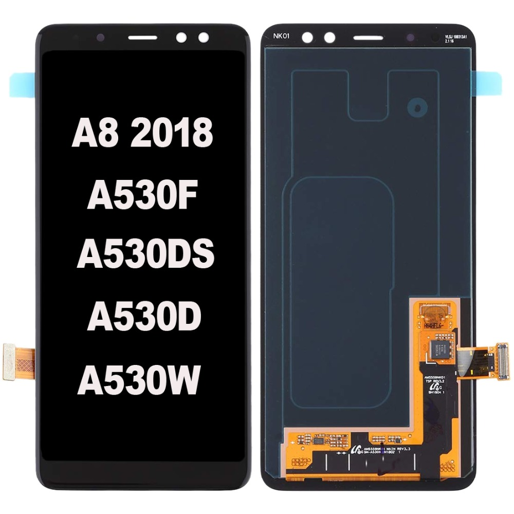 Black Super AMOLED For Samsung Galaxy A8 2018 SM-A530 A530F A530DS LCD Display With Touch Screen Assembly Replacement PartsBlack Super AMOLED For Samsung Galaxy A8 2018 SM-A530 A530F A530DS LCD Display With Touch Screen Assembly Replacement Parts