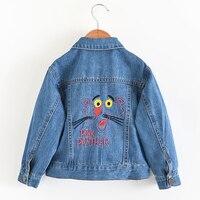 Cartoon Animal Embroidery Denim Jackets For Girls Jean Coat Spring Autumn Jackets For Girls Children Outerwear Coat
