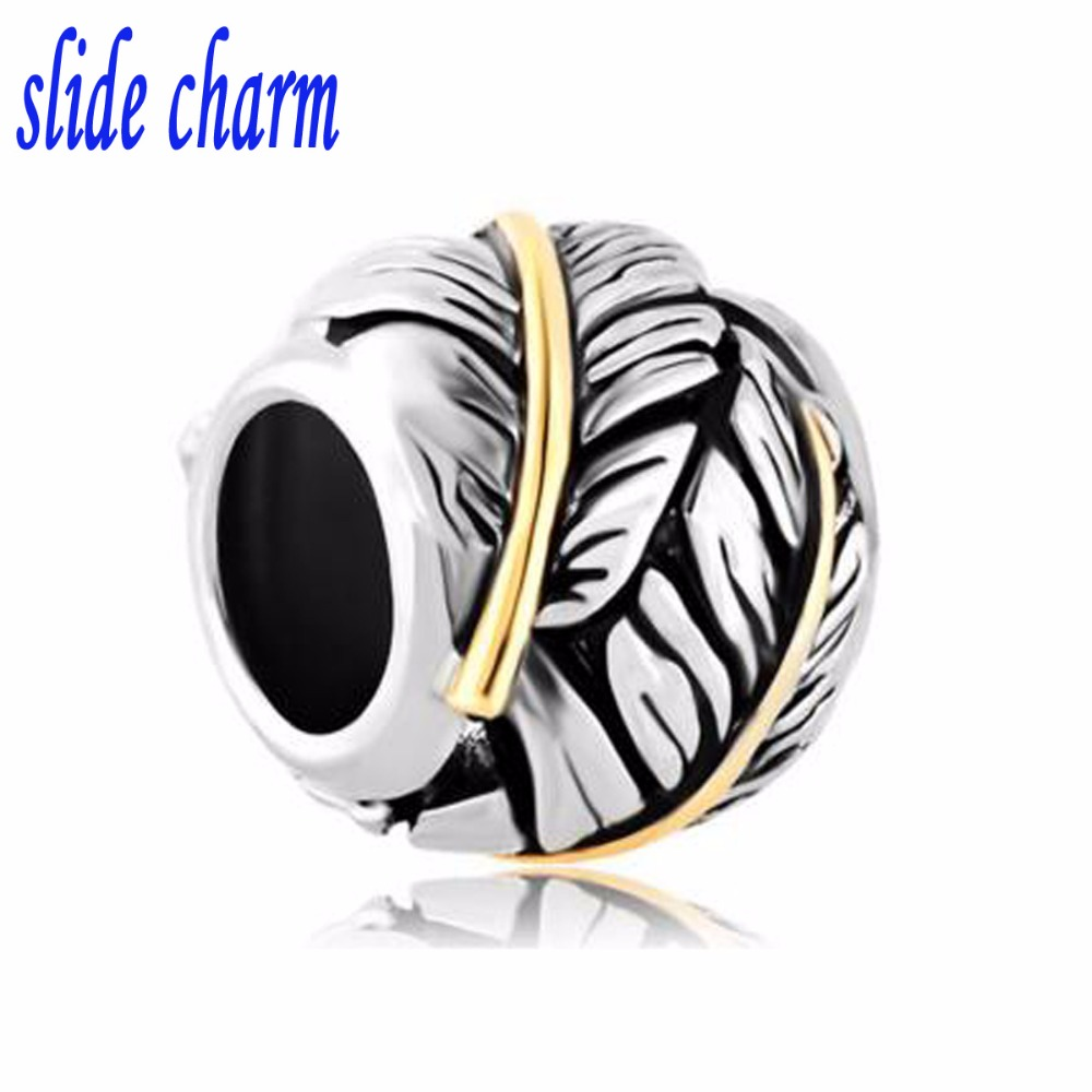 slide charm Free shipping Valentines Day gift for children and swan feathers DIY charm beads fit Pandora charm bracelets