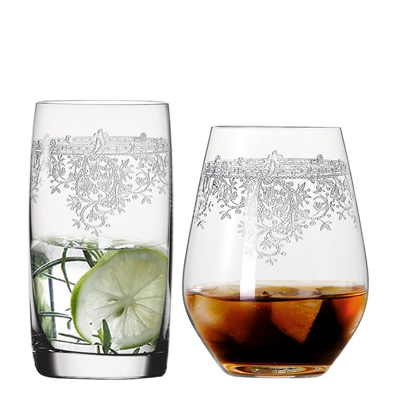 Creative Carved flowers Crystal glass cup tumbler Whiskey tea juice glasses wine cups Bar Hotel party wedding Drinkware