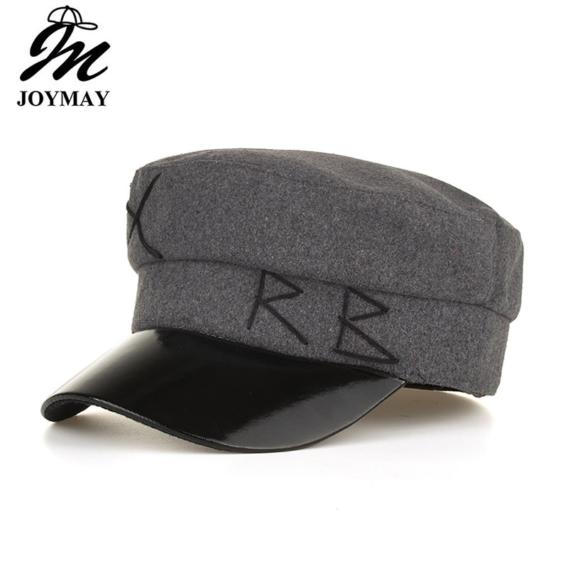 4db075e4e03 Joymay Army Military Hat Spring summer Vintage Patchwork Beret Cap for Women