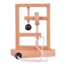 Wooden Threading Loosened Unlock Ring Unlink Untie Rope Logic Puzzle Burr Puzzles Brain Teaser Intellectual Toy educational unlock ring puzzle toy silver