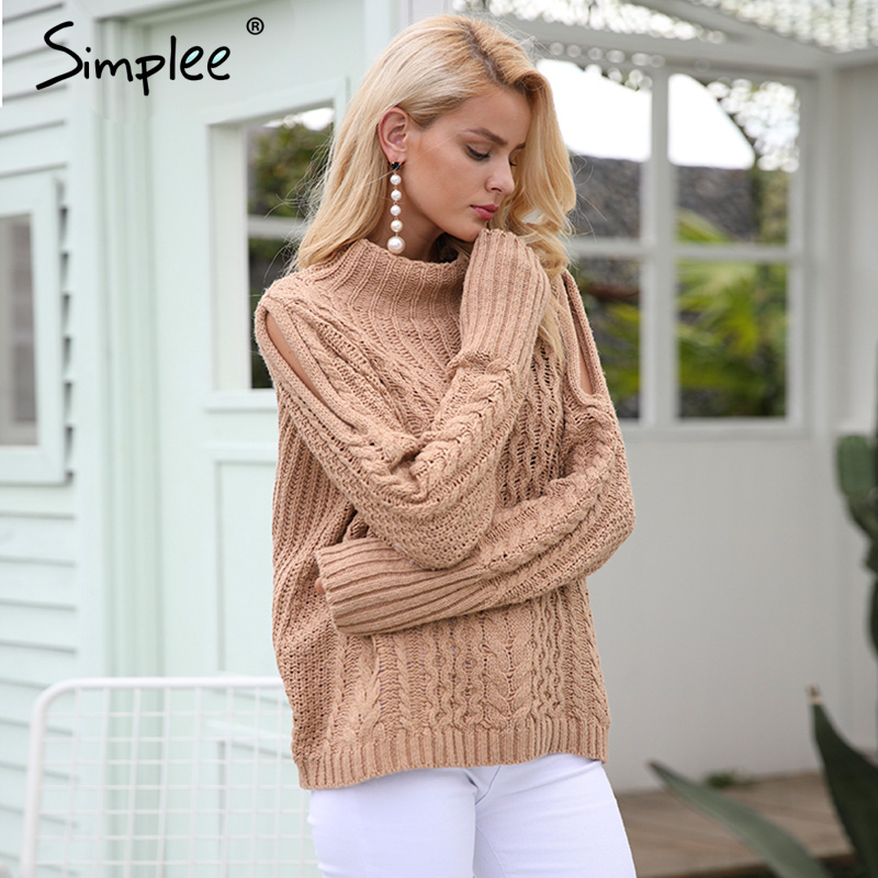 Simplee Casual warm autumn winter sweater women jumper Cold shoulder knitting pullover Hollow out high neck sweater female