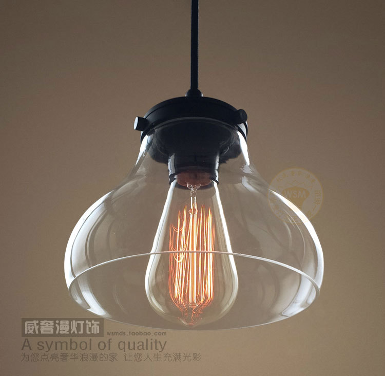 Aliexpress.com : Buy Vintage Industrial Modern Clear Glass Pendant Light  Hanging Lamp Bubble lamp Shade fabric Wire Black Color