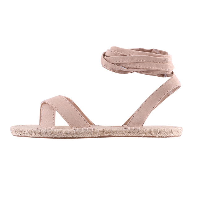 LALA IKAI kobiety letnie klapki rzym sznurowane kostki pasek konopi panie mieszkania odkryty obuwie damskie Zapatos Mujer 014A3302-4