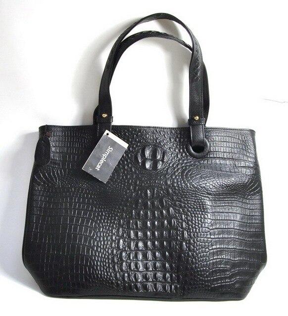 Women Genuine Real Leather Tote Shopper Handbag Shopping Bag Crocodile Alligator Purse Shoulder Cross Body Satchel Fashion Hobo