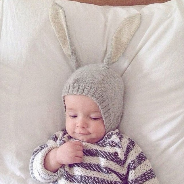 85d35ed6a35 Adorable Rabbit Long Ear Hat Autumn Winter Toddler Infant Knitted Baby Hat  Baby Bunny Beanie Cap