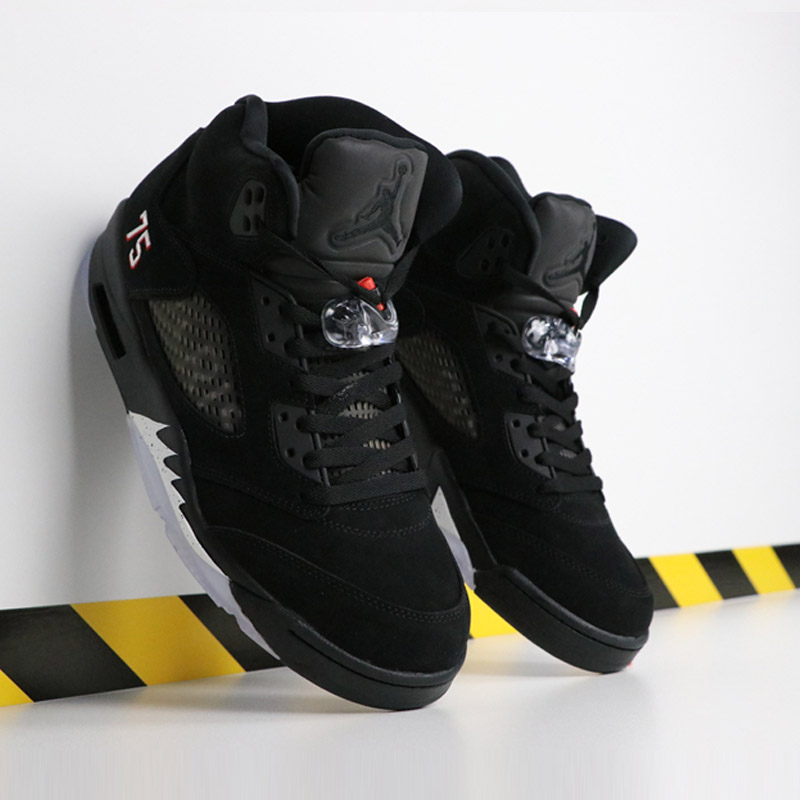 outlet store c149f 61db9 Jordan Retro 5 OG Black Metallic Silver PSG bred Men Basketball Shoes Red  Blue Suede Sports Sneakers Shoe-in Basketball Shoes from Sports    Entertainment on ...
