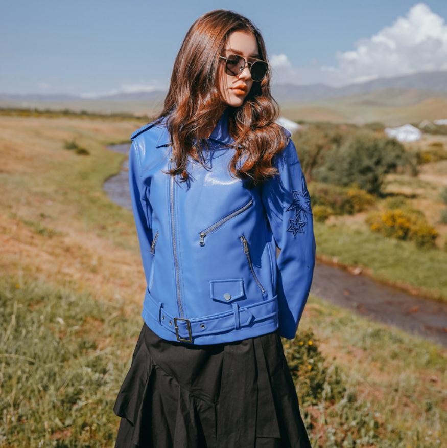 New Fashion brand embroidery stitching Basic Street style   leather   jacket Women Short zipper stitching PU   Leather   Jacket wq240