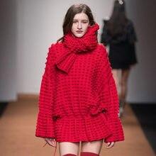 610cabdeaa Europea pista vestido de otoño invierno de 2018 las mujeres del O-Cuello de  manga larga bola Vestido de punto lana rojo cálido b.