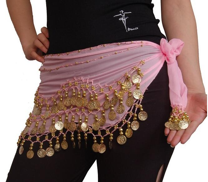 100x New Chiffon India 3 Rows Gold Coin Chain Belt Skirt Belly Dance Hip Scarf in Belly Dancing from Novelty Special Use