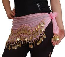 100x New Chiffon India 3 Rows Gold Coin Chain Belt Skirt Belly Dance Hip Scarf