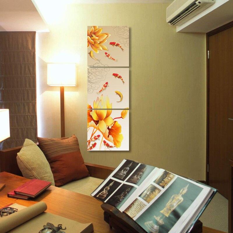 3 pea toile wall art vertical koi poissons impressions sur toile abstraite pas cher art moderne peinture pour chambre salon dc - Peinture Pour Chambre Pas Cher