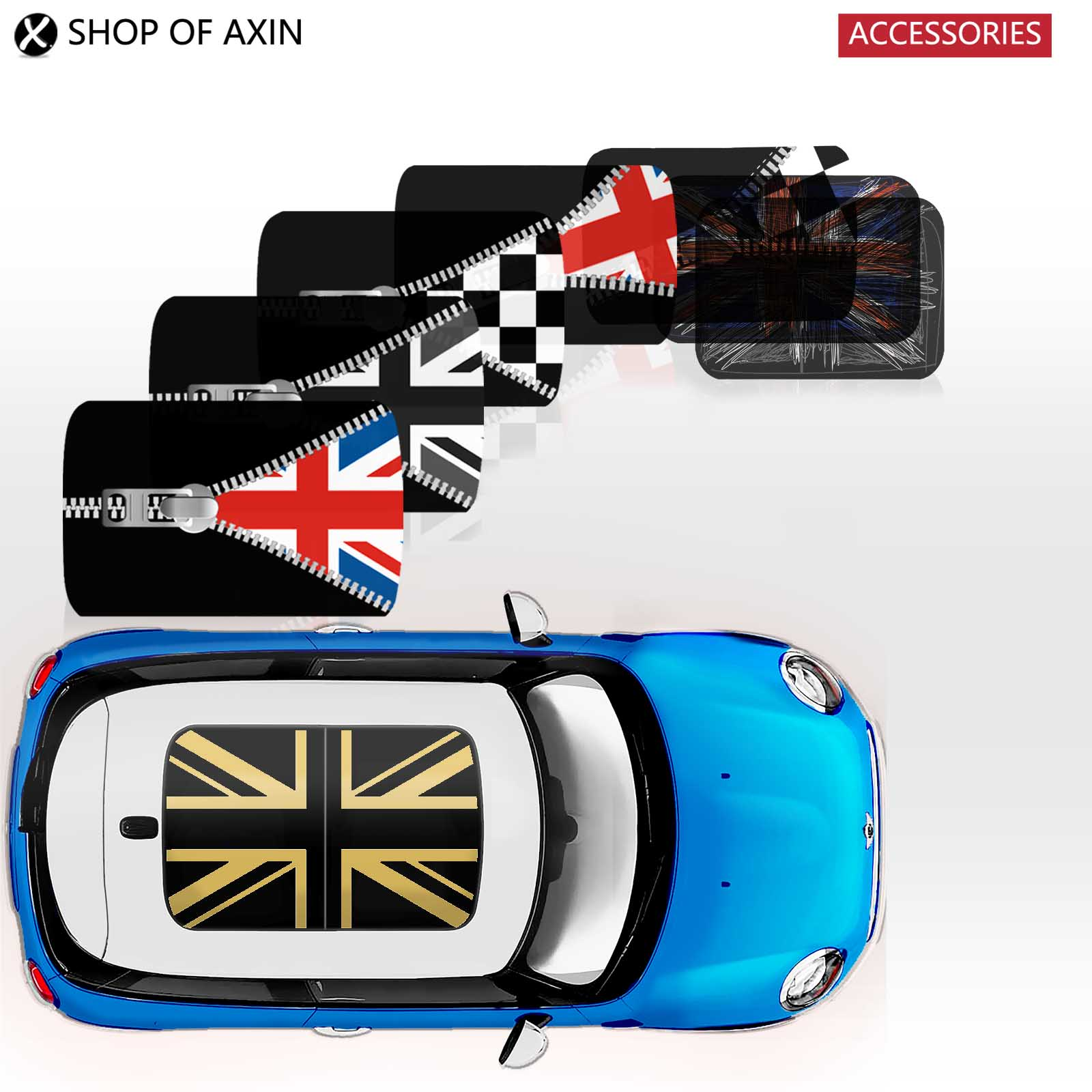 For Mini Cooper R55 R56 R60 Union Jack Tower Perforated Sunroof Vinyl Decal