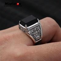 Genuine 100% 925 Sterling Silver Vintage Punk Locomotive Spuare Black CZ Ring For Women Men Fashion Jewelry