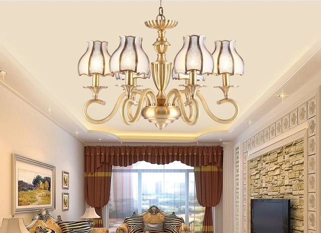 New Arrival 8L Fashion Brass Pendant Chandelier Lights Copper Light Luxury Antique