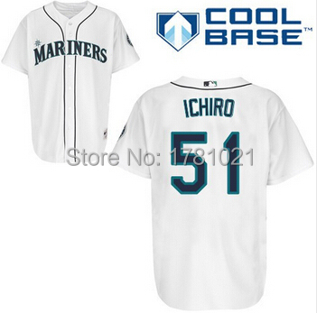 f5424928c83 Free Shipping Cheap Men s Throwback New Seattle Mariners Baseball Jersey 51  Suzuki Ichiro Jerseys Blue White Green Grey Stitched