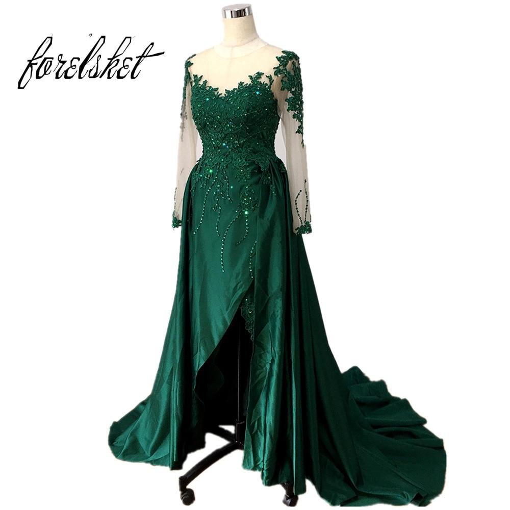 Prom Dress With Detachable Train: Long Sleeve Green Lace Evening Dresses 2019 Elegant Muslim