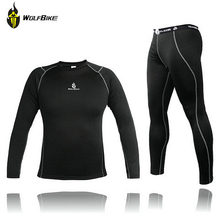 WOLFBIKE Men Thermal Fleece Base Layer Compression Cycling underwear Bike Long Sleeve Shirts Winter Sport Running Tights