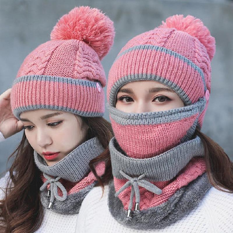新青年冬厚いプラスカシミヤ暖かいマスク帽子スカーフ秋冬女性のニット帽子ウールボールカバー耳襟 3 セット